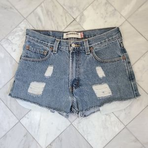 Levi's Distressed 550 Jean Shorts Blue Denim 30
